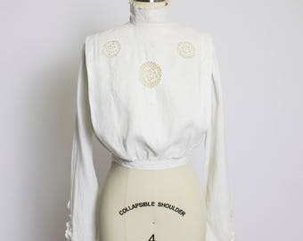 Victorian White Linen Blouse - Ivory Crochet Lace Cut Outs Embroidered Antique Edwardian 1910s  - Extra Small XS