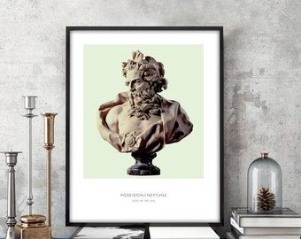 Poseidon | Portrait of Poseidon, Mythology, Poseidon Bust, Poseidon Photo, Poseidon Art Print, Modern Home Decor, Green, Bust Art Print