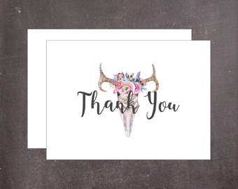 Tribal Inspired Thank You Card Set of 5, Folded Note Cards with Skull and Floral Bouquet, Note Cards with Envelopes for Thank You Gifts