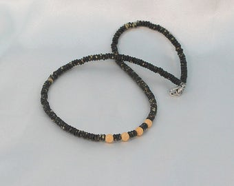 Mens jewelry necklace, gift for him, black shell beaded necklace, rustic surfer necklace, gift for Dad