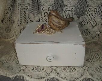 Vintage wood, Farmhouse Primitive, white distressed, wood storage drawer