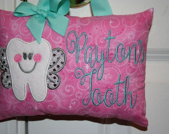 Tooth Fairy Pillow Girls Personalized Glitter Pink Tooth Chart Princess Sparkles Sequins