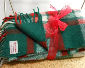 Vintage TROY Wool Blanket Red Green Grey Plaid EXCEPTIONAL