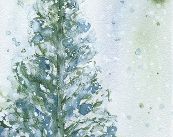 Snowy Fir Tree Holiday Art Print, Christmas Decor, Winter Landscape Print