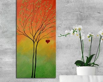 Abstract  Giclee print on canvas, heart print, colorful print, abstract orange print, love print on canvas, orange green heart painting