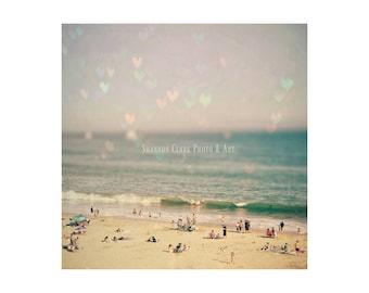 """Santa Cruz Photography. """"Santa Cruz Love"""". Bokeh Hearts. Pink. Purple. Mint. Aqua. Pastel. Beach. Ocean. Girly. Summer. Wall art"""