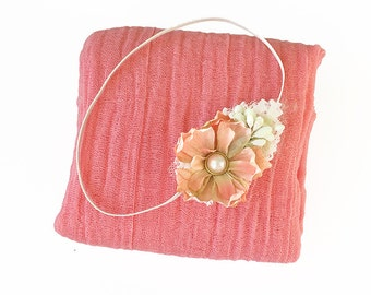 Coral Pink Cheesecloth Wrap with Coral Peach and Ivory Flower Headband for Newborn Baby Girl Photo Session, Baby Shower Gift