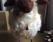 Wooly Sheep Needle Felted with Rustic Bell - Reserved for dfreda6