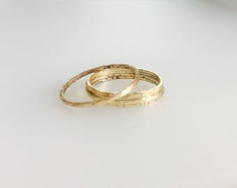 Hammered thin gold rings