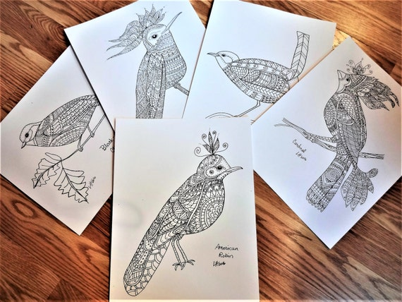 Adult Coloring Pages, Whimsical Birds Coloring Book, Fantasy Birds, Coloring Book, Original Coloring Pages, 20 8-1/2 x 11 pages