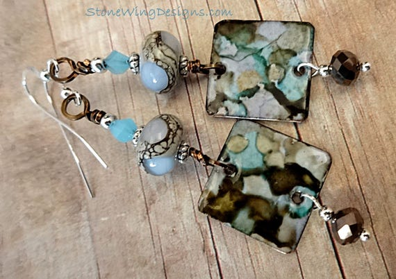 Blue and Brown Enamel and Lampwork Glass Earrings
