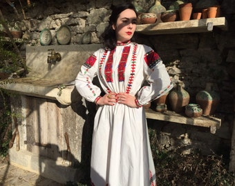 Vintage Antique Bulgarian embroidered  folk dress