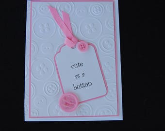 Cute as a Button - Blank Card and Coordinating Envelope