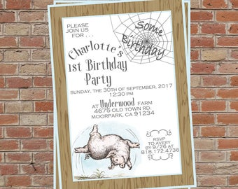 Charlotte's Web Birthday/Baby Shower Invitation . . .