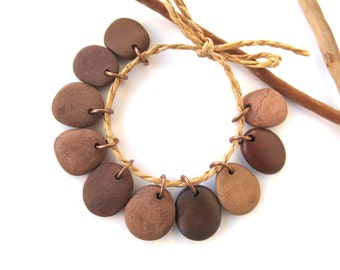 Natural Rock Beads Small Mediterranean Beach Stone DIY Jewelry Making Beads Natural Stone Rock Charms River Stone Beads TERRA MIX 17-18 mm