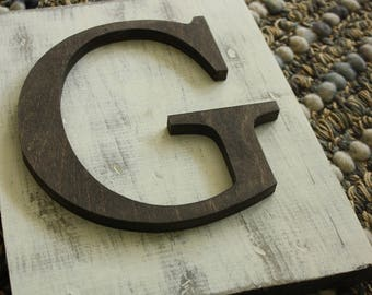 White Hanging Farmhouse letter G sign- Wall hanging letter READY TO SHIP G Wedding gift teacher gift