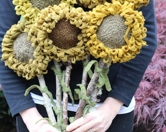 Set of 6 GIANT Primitive Folk Art Hooked Rug Sunflowers