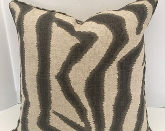 Decorative Pillow Cover in Lacefield Zebra Streel Grey w/ Piping