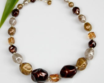 """Vintage Beaded Necklace / Choker ~ Glass & Faux Pearls ~ Brown / Beige / Cream ~ Japan ~ 14 1/2"""" ~ MOD 60's ~ Gift For Her ~  ESTATE Jewelry"""