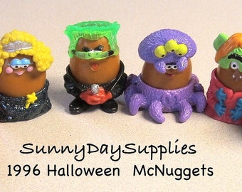 Vintage McDonald's Happy Meal Toys, ALL Halloween McNugget Buddies, Chicken McNuggets, 1996 Halloween McNugget Buddies, 6 in Lot, Food Toys