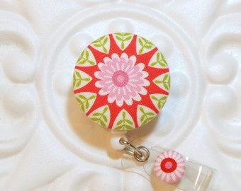 Retractable Badge Holder Id Reel  Fabric Covered Button Pink Green