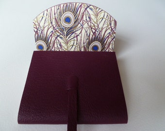 SMALL Leather Journal Leather Notebook Plum Grained Leather Lined with a Beautiful Peacock Feather Paper.