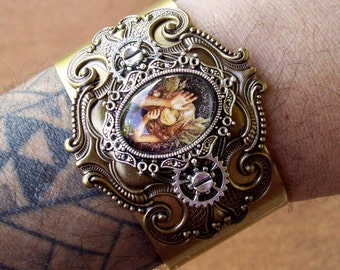 Steampunk Cuff (C700), Bracelet, Antiqued Brass Cuff and Fancy Framework, Silver Cameo and Gears, Captured Woodland Fairy Under Glass