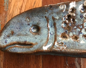 handmade pottery fish plate for sushi