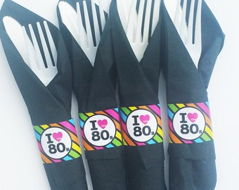 80s Napkin Rings Printable - Eighties Party - 80s Collection