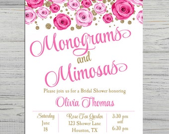 Monograms and Mimosas Invitation Printable or Printed with FREE SHIPPING - Rose Gold Collection