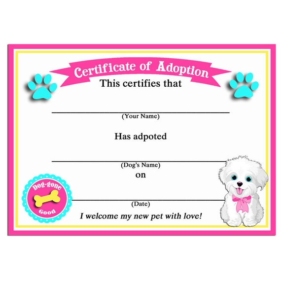 dog show certificate template - 50 off sale puppy dog adoption certificates instant