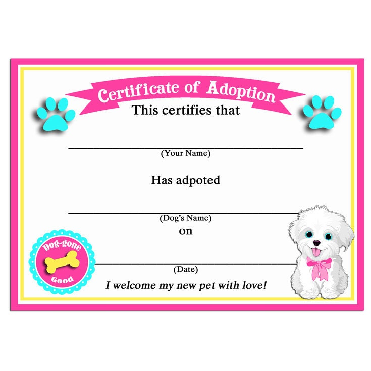 50 off sale puppy dog adoption certificates instant for Dog certificate template