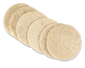 Natural Luffa Loofa Sponge Round Pads - Lot of 6 Pads - Homegrown - Organic