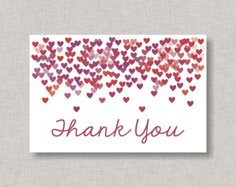 Confetti Thank You Card, Confetti Heart Thank You Card, Valentine Thank You Card, Heart Thank You Card, Valentine, Printable Thank You Card