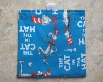 The Cat in the Hat Reusable Sandwich Bag, Reusable Snack Bag, Washable Treat Bag with easy open tabs