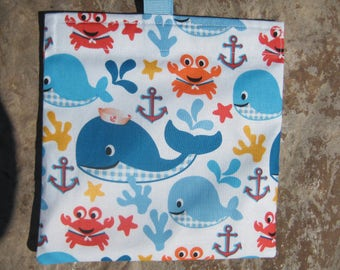Sea Buddies Reusable Sandwich Bag, Reusable Snack Bag, Washable Treat Bag with easy open tabs
