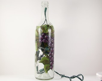 Wine Bottle Light Hand Painted with Purple Grapes, Glass Kitchen Accent, Bar Decor, Winery Art, Orchard Fruit, Painted Grapes on Wine Bottle