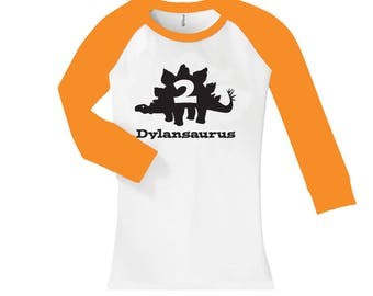 Dinosaur Stegosaurus Birthday Shirt- cropped/long sleeve fitted raglan shirt - any age and name - pick your colors!