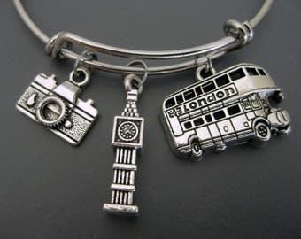 London Bracelet / Travel Bracelet / Big Ben Bangle / Travel Bangle / Wanderlust Bracelet / London Bus / Adjustable Expandable Charm Bracelet