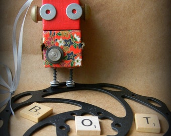 Robot Ornament - Flower Bot (Red) - Upcycled Ornament - Hanging Decor by Jen Hardwick