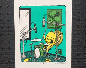 the beat drum print, kid's room art, nursery print, drummer screen print, music print, bear print