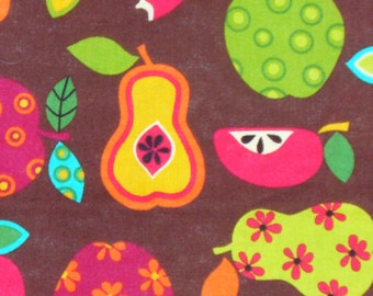 Fruit fabric, Apples and Pears,  Retro Fruit Fabric, Patterned Fruit, By the Yard, Cotton Fabric
