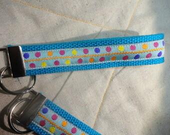 Fun Jacquard Ribbon Key Fobs in different Polka Dots and Zig Zag