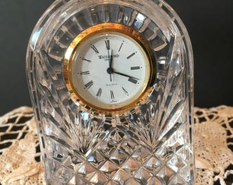 Small Arched Shaped Waterford Crystal Clock / With New Battery