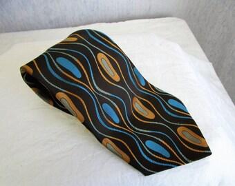 60s Oleg Cassini Polyester Wide Tie Brown Teal Blue Mod Print