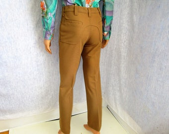 "70s 31"" x 32"" Lee Polyester Knit Jeans Mens Flares PANTS Camel Beige"