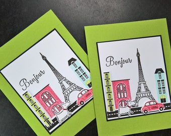 Westie Card, Bonjour Card, Hello Card, Westie Lover Gift, Eiffel Tower, Paris France, Dog Greeting Card