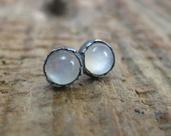 Shimmer // Rustic Antiqued Sterling Silver Moonstone Studs // Hand Crafted // Artisan // Eco Friendly