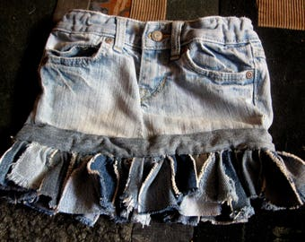 Recycled Denim Skirt for Young Girl