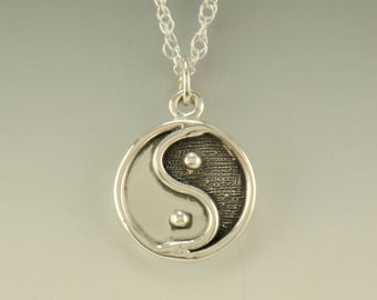 P710- Sterling Silver Yin Yang Pendant- One of a Kind